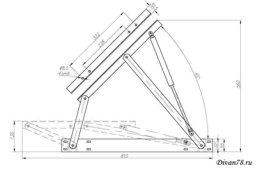 Схема крепления подъемного механизма на кровать6