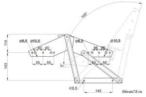 Чертеж механизма для дивана книжка 504 или аккордеон