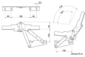 Чертеж для механизма трансформации для дивана клик кляк