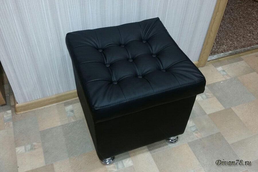 черный пуфик с ящиком из экокожи 450х450 мм