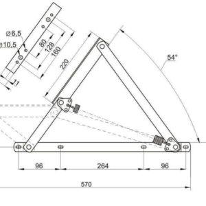Чертеж подъемный механизм для дивана или тахты №498 под пружины