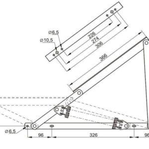 Чертеж подъемный механизм для дивана или тахты №546 под пружины