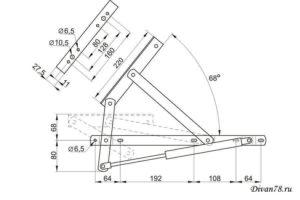 чертеж механизма подъема ящика для дивана 556