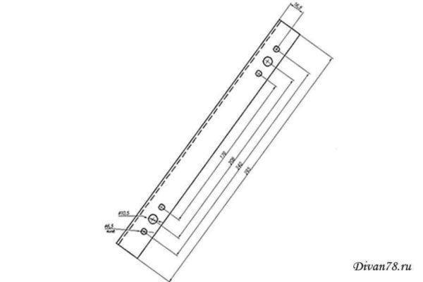 Чертеж механизма подъема для дивана или тахты №592