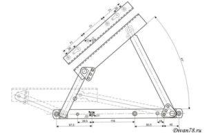 Чертеж подъемный механизм для дивана №602 под пружины