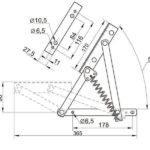 Чертеж подъемного механизма для дивана или тахты №555