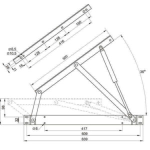 Чертеж подъемного механизма для кровати №559 с газлифтами