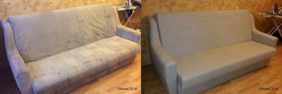 Перетяжка дивана из ткани и замена поролона
