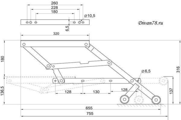 механизм трансформации дельфин 561 с роликами