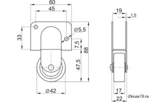 Схема ролика для дивана 539Р прорезиненный