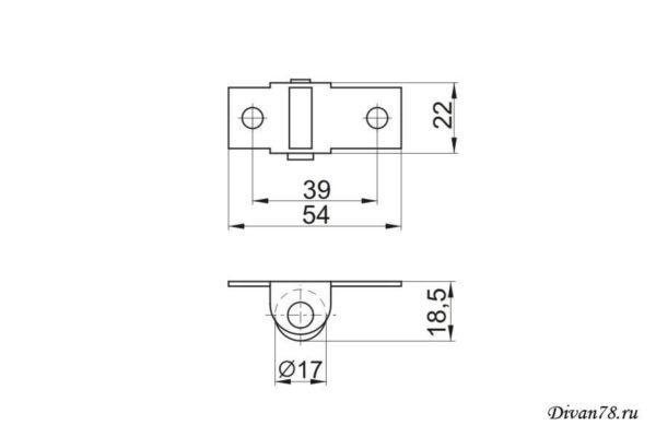 Схема ролик для дивана 531-01 прорезиненный