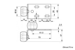 Схема ролика для дивана 446 двойной прорезиненный