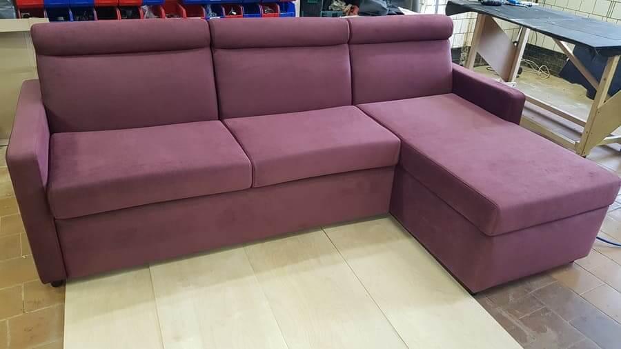 Угловой диван с итальянской раскладушкой бордовый - 2