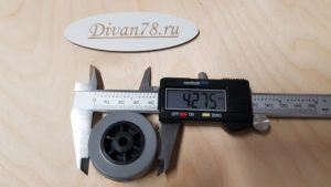Колесо ролик прямое прорезиненное 42х21х6 мм 3